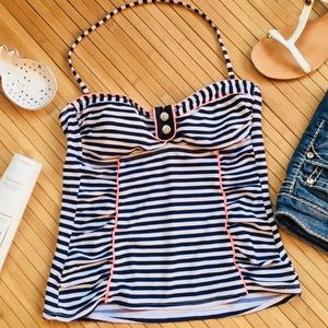 Anchor striped navy blue Tankini swim top MEDIUM